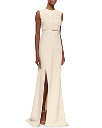 Elie Saab Sequin Embroidered High Slit Gown Ivory