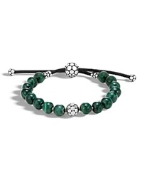 John Hardy Sterling Silver Dot Bead Bracelet With Malachite Green Silver