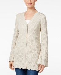 Styleandco. Style Co. Ribbed Scalloped Hem Cardigan Only At Macy's Warm Ivory