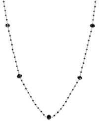 Macy's Black Diamond Station Necklace In 14K White Gold 10 Ct. T.W.