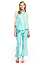 Marques Almeida Belted Boot Cut Trousers Turquoise