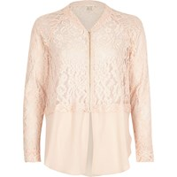 River Island Womens Light Pink Lace Woven Hem Bomber Jacket