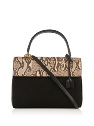 Saint Laurent Moujik Snakeskin Suede And Leather Tote