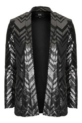 Jagger Silver And Black Zig Zag Jacket By Goldie