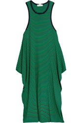 Stella Mccartney Calypso Striped Cotton Jersey Dress Forest Green