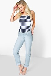 Boohoo Low Rise Light Blue Mom Jeans Blue