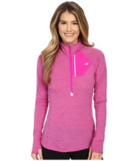 New Balance Performance Merino 1 2 Zip Top Azalea Women's Long Sleeve Pullover Pink