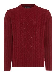 Howick Fisherman Cable Crew Neck Jumper Red