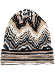 Missoni Knitted Beanie Hat Brown