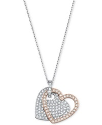 Swarovski Two Tone Crystal Pave Double Heart Pendant Necklace
