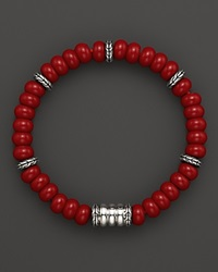 John Hardy Men's Batu Bedeg Silver Beads Bracelet With Reconstructed Coral Red