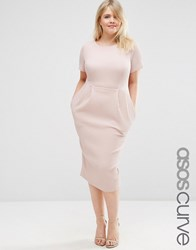 Asos Curve Midi Wiggle Dress In Texture Nude Pink