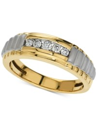Macy's Men's Five Stone Diamond Two Tone Ring 1 4 Ct. T.W. In 10K Gold