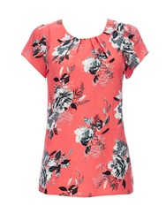 Wallis Coral Printed Shell Top