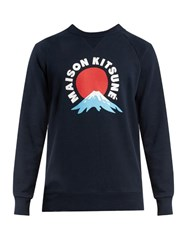 Maison Kitsune Mount Fuji Print Crew Neck Cotton Sweatshirt Navy