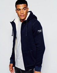 Abercrombie And Fitch Hoodie With Faux Shearling Lining Navy
