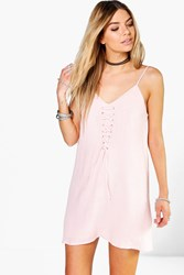 Boohoo Lace Up Front Strappy Slip Dress Peach