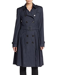 Burberry Wool And Silk Pleated Trench Coat Navy