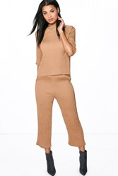 Boohoo Laila Crinkle Tapered Trouser Camel