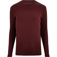 River Island Mens Red Ribbed Slim Fit Long Sleeve T Shirt