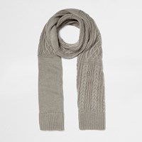 River Island Womens Grey Metallic Cable Knit Scarf