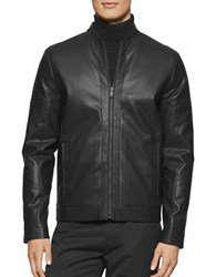 Calvin Klein Micro Square Embossed Faux Leather Baseball Jacket Black
