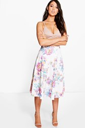 Boohoo Bright Floral Full Midi Skirt Multi