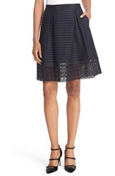 Ted Baker Women's London 'Lotee' Lace And Mesh Paneled Pleated Skirt