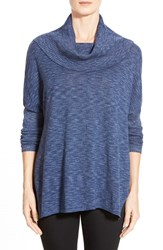 Women's Fever Space Dye Cowl Neck Dolman Sleeve Tunic British Blue
