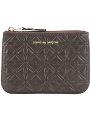 Comme Des Garcons Wallet 'Classic Embossed A' Pouch Brown