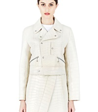 Archive Yang Li Crocodile Perfecto Leather Jacket Cream