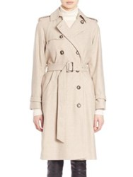 Set Double Breasted Wool Blend Trench Coat Light Stone