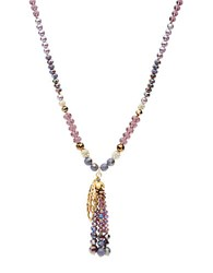 Lonna And Lilly Cubic Zirconia Glass Beaded Tassel Drop Necklace Purple