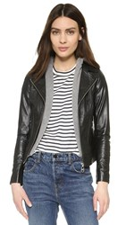 Doma Venice Hooded Leather Jacket Black