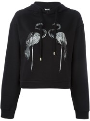 Just Cavalli Flamingo Print Hoodie Black