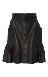 Alexis Mabille Organic Leather Corolla Skirt Black