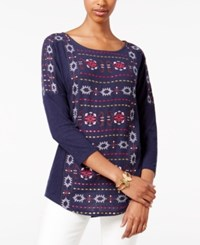 Lucky Brand Three Quarter Sleeve Geo Print Top American N