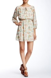 Want And Need 3 4 Length Sleeve Gathered Waist Woven Dress Multi