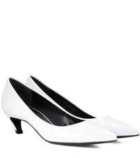 Balenciaga Patent Leather Kitten Heel Pumps White