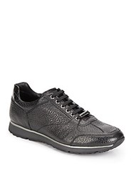 Ermenegildo Zegna Embossed Leather Sneakers Black