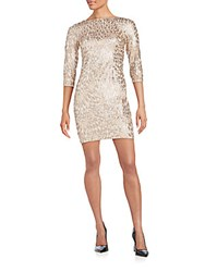 Aidan Mattox Three Quarter Sleeve Sequin Dress Champagne