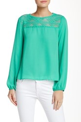Lily White Lace Trim Blouse Blue