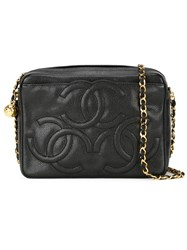 Chanel Vintage Embossed Logo Crossbody Bag Black