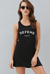 Forever 21 Defend Paris Graphic Tank Black White