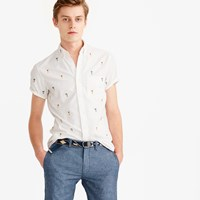 J.Crew Short Sleeve Oxford Shirt With Embroidered Palm Trees