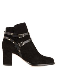 Valentino Rockstud Trimmed Suede Ankle Boots Black