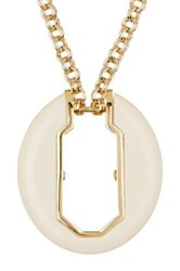 Louise Et Cie Jewelry Faux Ivory Oval Pendant Necklace Metallic