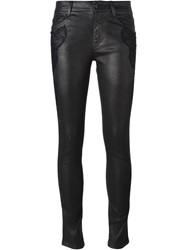 Ermanno Scervino Lace Detail Coated Skinny Jeans Black
