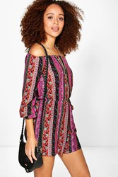 Boohoo Off The Shoulder Paisley Playsuit Multi