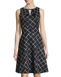 Donna Ricco Sleeveless Fit And Flare Diagonal Striped Dress Black Whit
